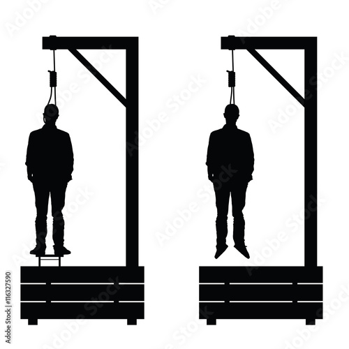 Fototapeta  gallows set in black color with man on it illustration