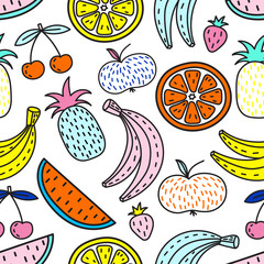 Panel SzklanyVector seamless pattern of Fruits. Summer mood