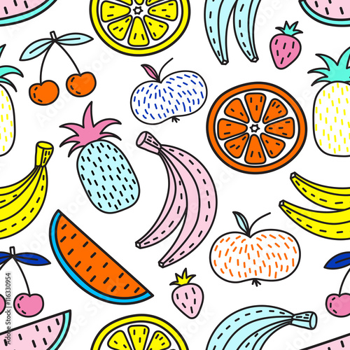 Cotton fabric Vector seamless pattern of Fruits. Summer mood