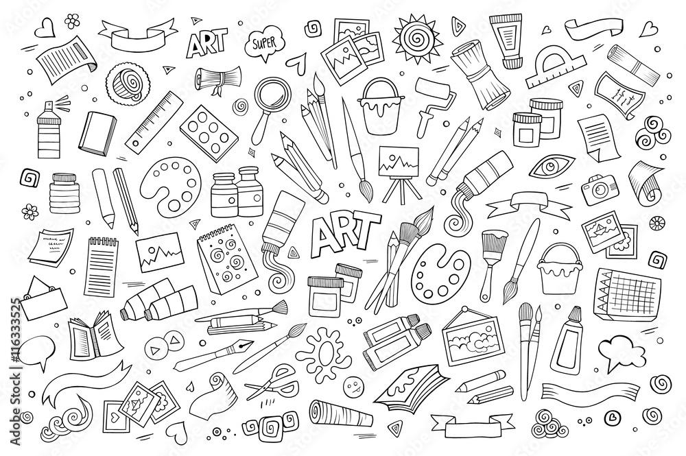 Sztuka i farby materiałów doodles ręcznie rysowane symbole wektorowe