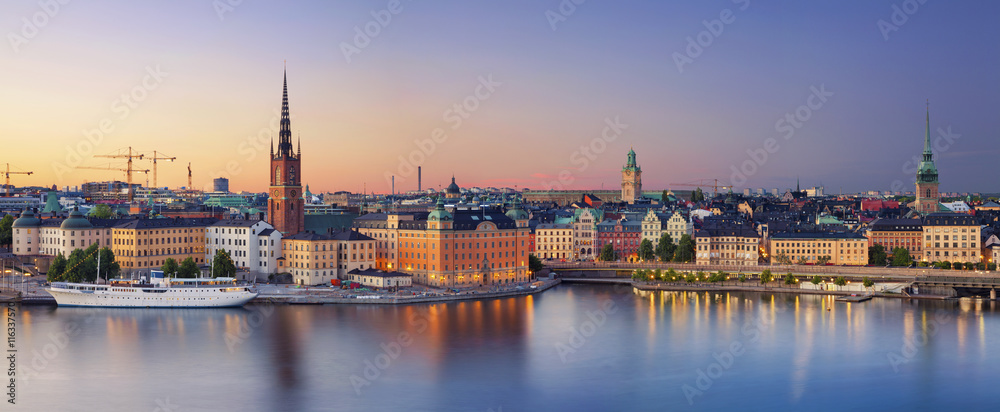 Fototapety, obrazy: Stockholm.Panoramic image of Stockholm, Sweden during sunset.
