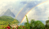Fototapeta Tęcza - Unique view of Pitons on a rainy morning at sunrise with double rainbow