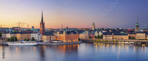 Stockholm.Panoramic image of Stockholm, Sweden during sunset. Wallpaper Mural