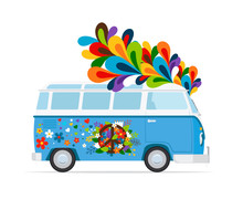 Hippie Bus. Vector Peace Van C...