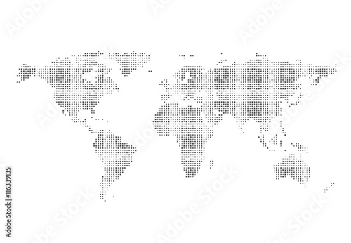 Acrylic Prints World Map Abstract World map of dots. Vector illustration.