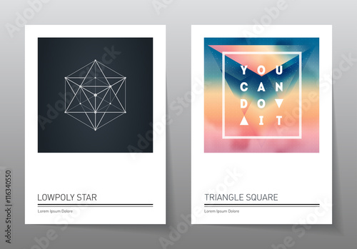 Abstract geometry backgrounds set. A4 fromat, vector templates. плакат