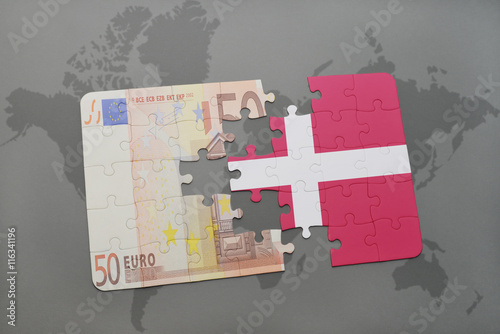 puzzle with the national flag of denmark and euro banknote on a world map background Poster