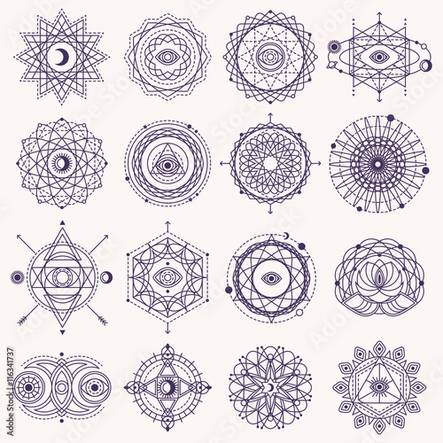 Fotografie, Obraz  Set of Sacred Geometry Signs