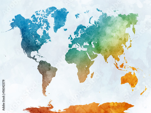 Fotografia  World map in watercolor