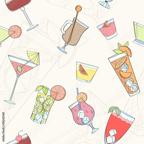 Cotton fabric Seamless cocktail pattern