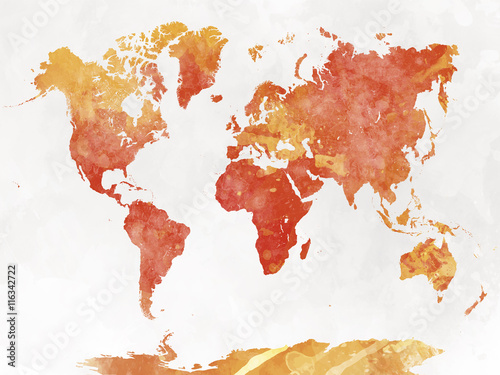 Recess Fitting World Map World map in watercolor