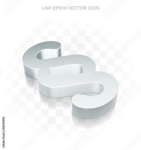 Fotografie, Obraz  Law icon: Flat metallic 3d Paragraph, transparent shadow, EPS 10 vector