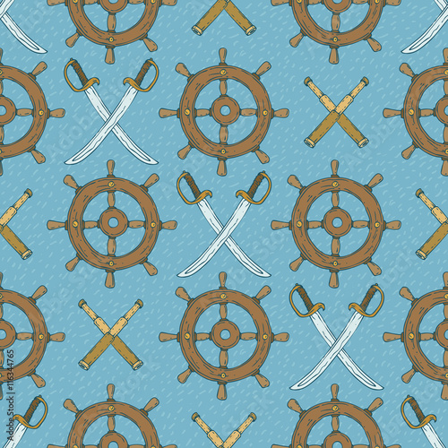 Cotton fabric Seamless Vector Pattern Retro Ship Steering Wheels,Sabers and Spyglasses