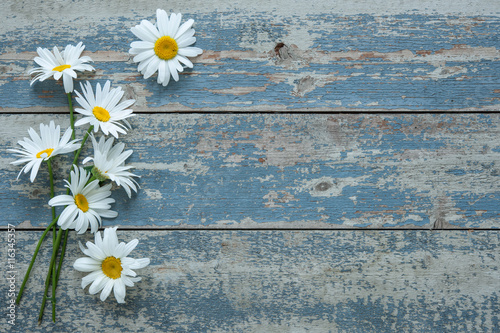 Fotobehang Madeliefjes Daisy flowers on wooden background
