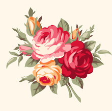Decorative Bouquet Of Vintage Roses. Vector Flowers