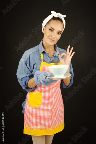 Canvas Prints Fairytale World beautiful woman cooking food concept preparing good taste meal
