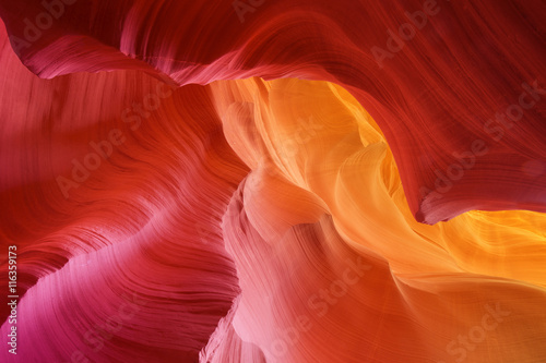 Foto auf Leinwand Antilope color hues of eroded stone, antelope canyon