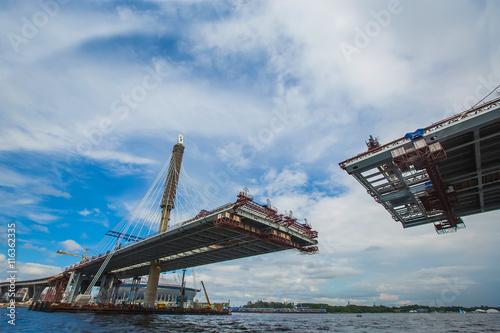 Canvas Prints Bridge The completion of the bridge across the river. Cable. bottom vie