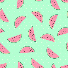 Pink watermelon slices seamless pattern on mint green polka dots background. Cute fruit pattern. Summer food vector illustration. Fashion design for textile, wallpaper, web, fabric and decor.