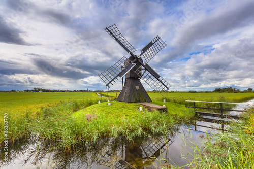 Garden Poster Mills Historic Wooden Windmill from the Netherlands