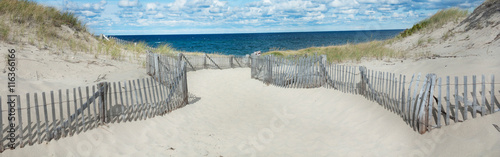 Poster Strand Beach at Provincetown, Massachusetts on Cape Cod with sea and clouds-Proportionate to Large Mobile Banner