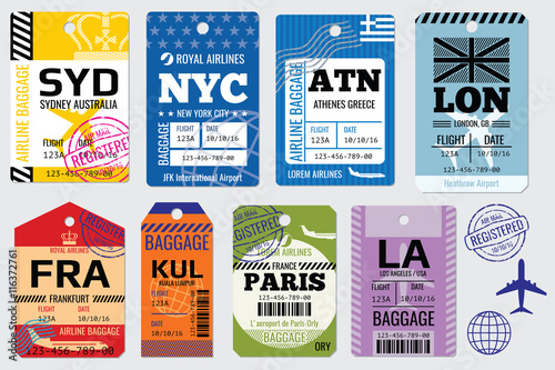 Retro baggage tags and travel tags vector stock Wallpaper Mural