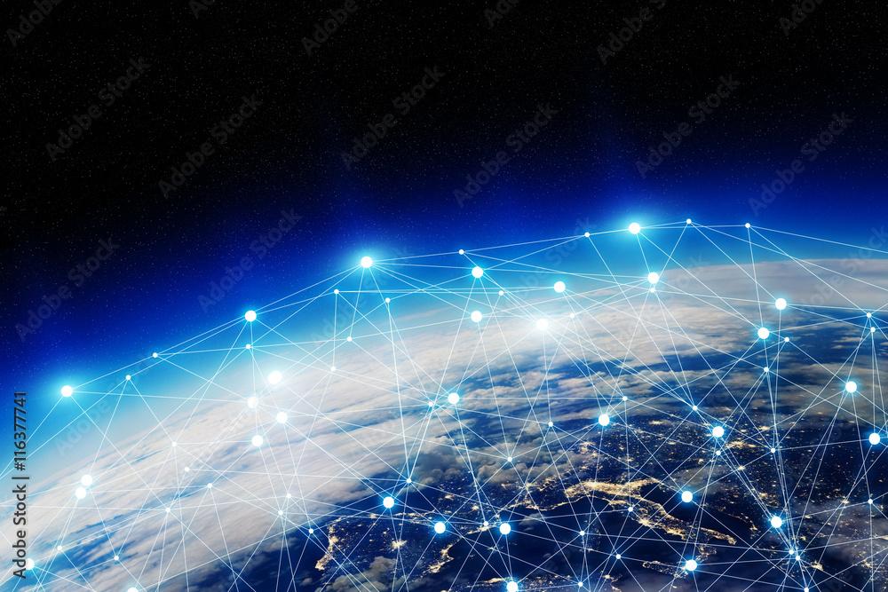 Fototapeta Global network and data exchange over the world