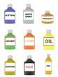 Set of sample bottles with acetone, white spirit, varnish, solvent, kerosene, cleaner, oil, glue and epoxy