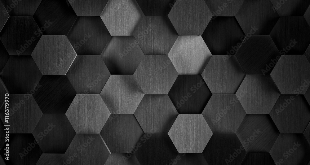Fototapeta Dark Black and White Hexagonal Tile Background - 3D Illustration