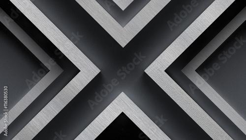 Fotografie, Obraz  Stylish Metal Background with X Shape - 3D Illustration