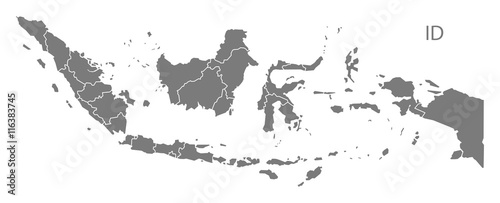 Fotomural Indonesia provinces Map grey