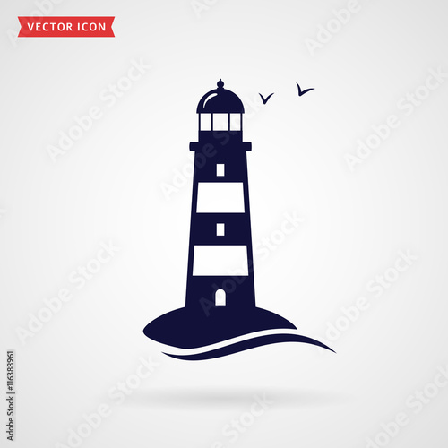 Lighthouse icon. Wall mural