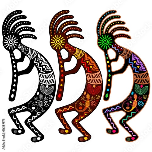 Photo sur Toile Draw Kokopelli - Set of 3 Colors