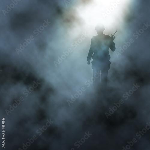 Slika na platnu Battlefield soldier