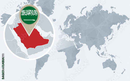 Abstract blue world map with magnified Saudi Arabia. – kaufen Sie ...
