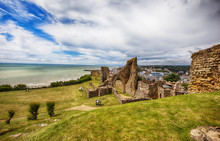 Hastings Castle, Town Center In The Background