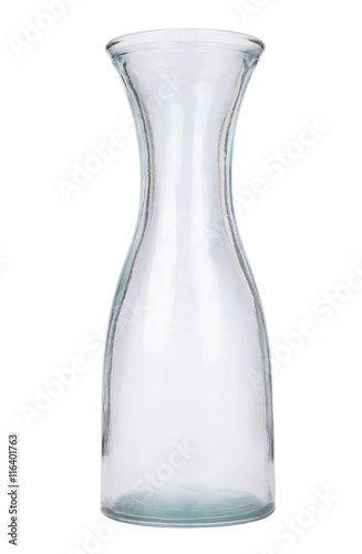 An Empty Clear Glass Vase Isolated On A White Background Buy This