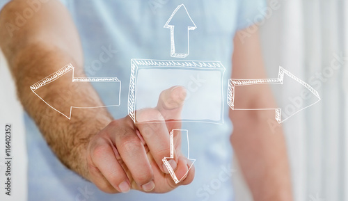 Fototapety, obrazy: Man touching hand-drawn business presentation