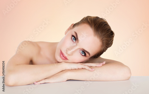 Fotografie, Obraz  beautiful young woman face and hands