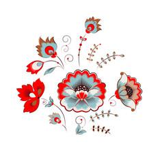 NaklejkaRussian peony ornament