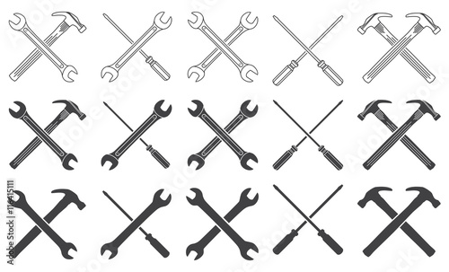 Wrenches, hammer and screwdriver thin line icons Wallpaper Mural