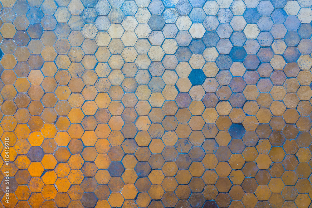 Fototapety, obrazy: Golden and blue hexagon blocks on the floor. Abstract background