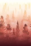 misty forest landscape, foggy forest landscape