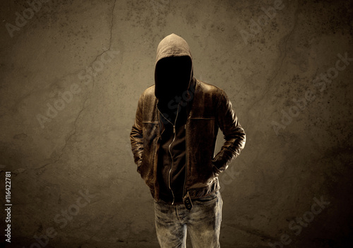 Undercover hooded stranger in the dark Tableau sur Toile