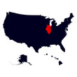 Illinois State in the United States map