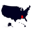 Alabama State in the United States map