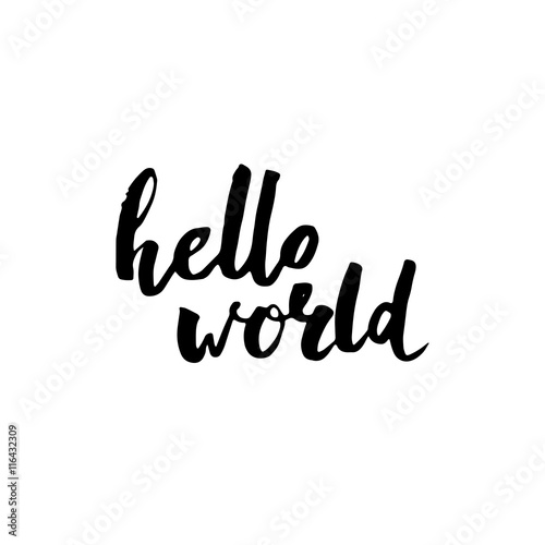 фотография  Hello world. Modern brush calligraphy.