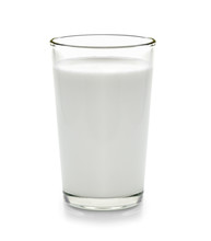 Fresh Milk In The Glass On Whi...