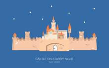 Castle On Starry Night, Flat Design Vector Illustration. Fantasy