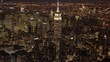 aerial establishment shot of new york city skyline. business buildings district